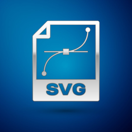 Silver SVG file document icon. Download svg button icon isolated on blue background. SVG file symbol. Vector Illustration  イラスト・ベクター素材