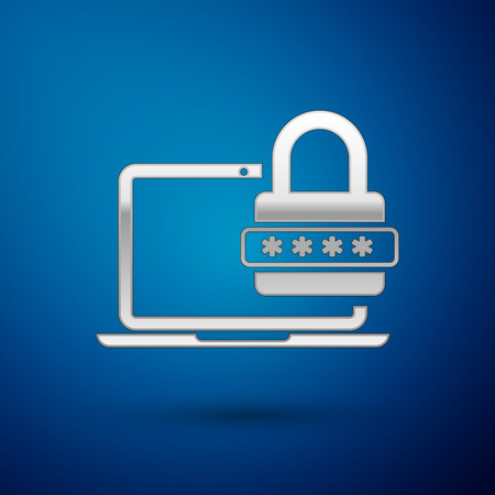 Silver Laptop with password notification and lock icon isolated on blue background. Concept of security, personal access, user authorization, login form. Vector Illustration