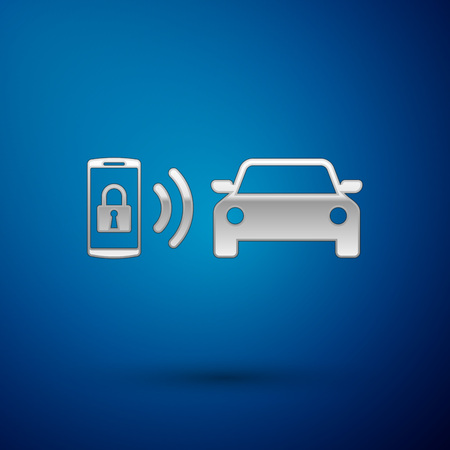 Silver Smart car alarm system icon isolated on blue background. The smartphone controls the car security on the wireless. Vector Illustration