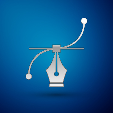 Silver Bezier curve icon isolated on blue background. Pen tool icon. Vector Illustration Çizim