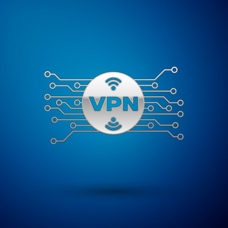 Silver VPN in circle with microchip circuit icon isolated on blue background. Vector Illustration
