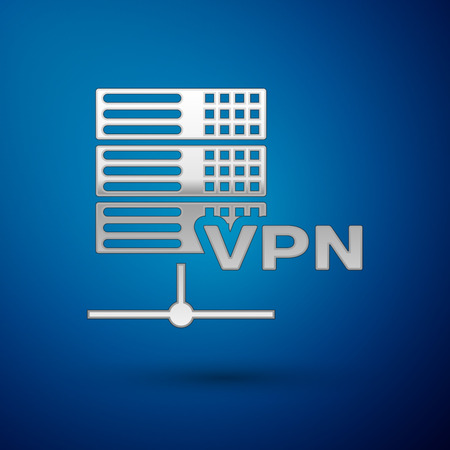 Silver Server VPN icon isolated on blue background. Vector Illustration