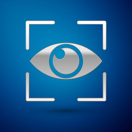 Silver Eye scan icon isolated on blue background. Scanning eye. Security check symbol. Cyber eye sign. Vector Illustration