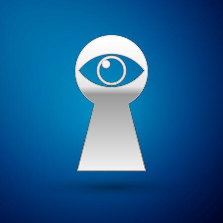 Silver Keyhole with eye icon isolated on blue background. The eye looks into the keyhole. Keyhole eye hole. Vector Illustration 写真素材 - 123299960