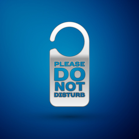Silver Please do not disturb icon isolated on blue background. Hotel Door Hanger Tags. Vector Illustration
