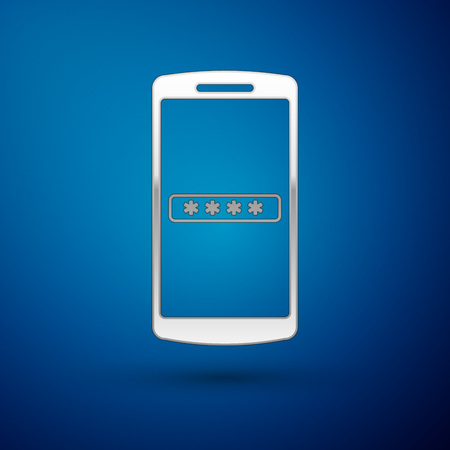 Silver Mobile phone and password protection icon isolated on blue background. Security, safety, personal access, user authorization, privacy. Vector Illustration