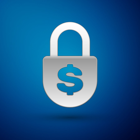 Silver Money lock icon isolated on blue background. Padlock and dollar symbol. Finance, security, safety, protection, privacy concept. Vector Illustration