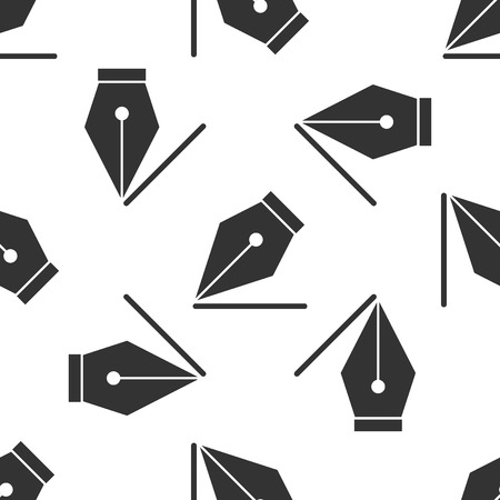 Grey Fountain pen nib icon isolated seamless pattern on white background. Pen tool sign. Vector Illustration