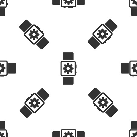 Grey Smartwatch setting icon isolated seamless pattern on white background. Smart watch settings. Vector Illustration  イラスト・ベクター素材