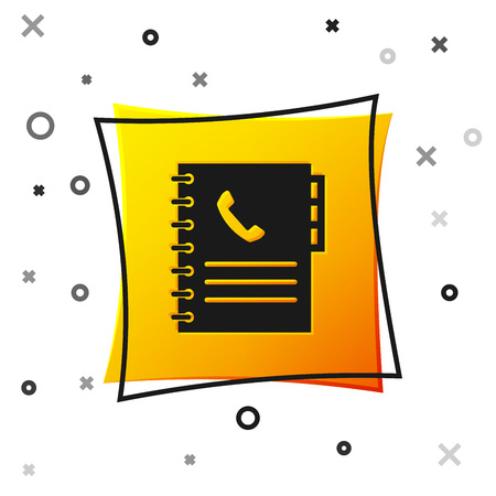 Black Phone book icon isolated on white background. Address book. Telephone directory. Yellow square button. Vector Illustration