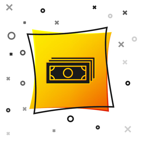 Black Stacks paper money cash icon isolated on white background. Money banknotes stacks. Bill currency. Yellow square button. Vector Illustration Ilustração