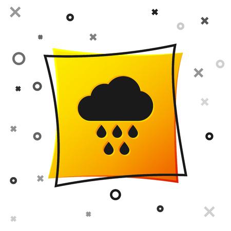 Black Cloud with rain icon isolated on white background. Rain cloud precipitation with rain drops. Yellow square button. Vector Illustration
