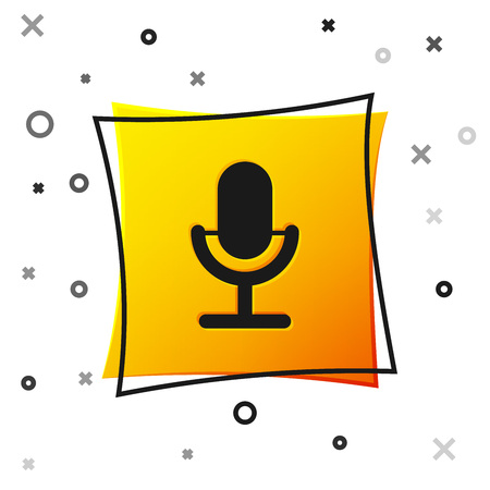 Black Microphone icon isolated on white background. On air radio mic microphone. Speaker sign. Yellow square button. Vector Illustration Illusztráció