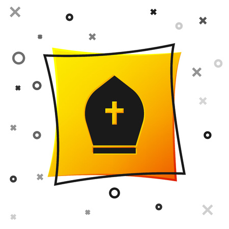 Black Pope hat icon isolated on white background. Christian hat sign. Yellow square button. Vector Illustration  イラスト・ベクター素材