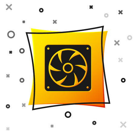 Black Computer cooler icon isolated on white background. PC hardware fan. Yellow square button. Vector Illustration