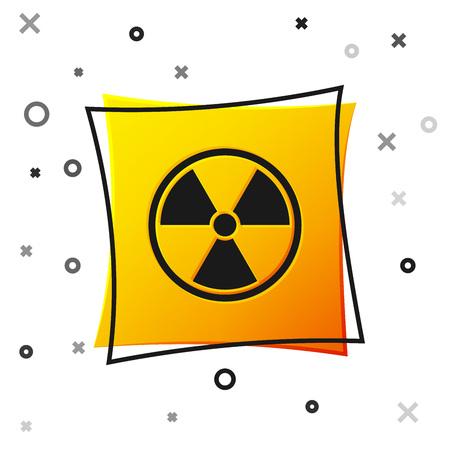 Black Radioactive icon isolated on white background. Radioactive toxic symbol. Radiation Hazard sign. Yellow square button. Vector Illustration Vector Illustration