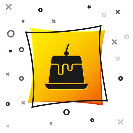 Black Pudding custard with caramel glaze icon isolated on white background. Yellow square button. Vector Illustration Illustration