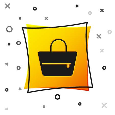 Black Handbag icon isolated on white background. Female handbag sign. Glamour casual baggage symbol. Yellow square button. Vector Illustration