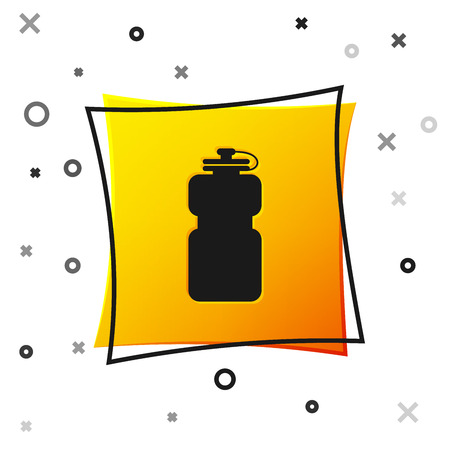 Black Sport bottle with water icon isolated on white background. Yellow square button. Vector Illustration