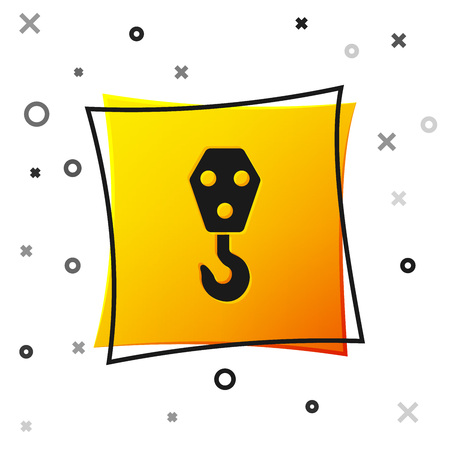 Black Industrial hook icon isolated on white background. Crane hook icon. Yellow square button. Vector Illustration