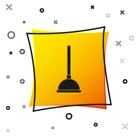 Black Rubber plunger with wooden handle for pipe cleaning icon isolated on white background. Toilet plunger. Yellow square button. Vector Illustration Ilustración de vector