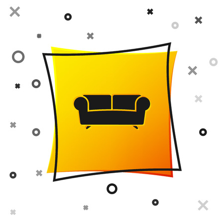 Black Sofa icon isolated on white background. Yellow square button. Vector Illustration 向量圖像