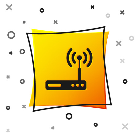 Black Router and wi-fi signal symbol icon isolated on white background. Wireless ethernet modem router. Computer technology internet. Yellow square button. Vector Illustration