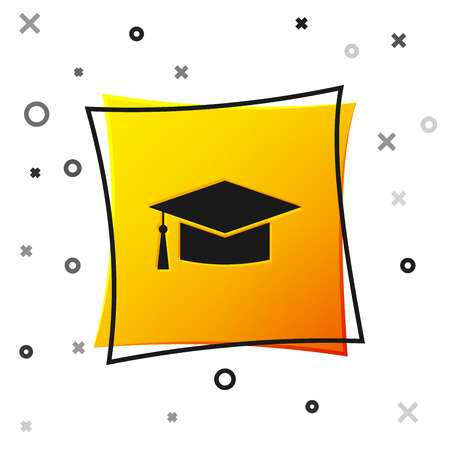 Black Graduation cap icon isolated on white background. Graduation hat with tassel icon. Yellow square button. Vector Illustration
