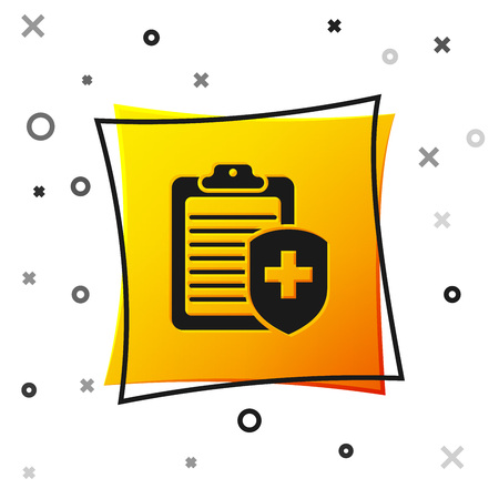 Black Clipboard with medical insurance icon isolated on white background. Patient protection. Clipboard and shield with a cross as a symbol insurance. Yellow square button. Vector Illustration