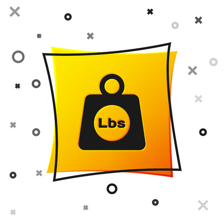 Black Weight pounds icon isolated on white background. Pounds weight block for weight lifting and scale. Mass symbol. Yellow square button. Vector Illustration Ilustração