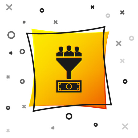 Black Lead management icon isolated on white background. Funnel with people, money. Target client business concept. Yellow square button. Vector Illustration