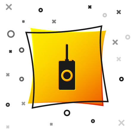 Black Remote control icon isolated on white background. Yellow square button. Vector Illustration