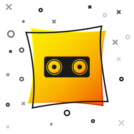 Black Stereo speaker icon isolated on white background. Sound system speakers. Music icon. Musical column speaker bass equipment. Yellow square button. Vector Illustration Illustration