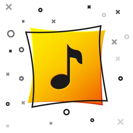 Black Music note, tone icon isolated on white background. Yellow square button. Vector Illustration