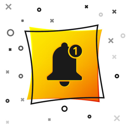 Black Bell icon isolated on white background. New Notification icon. New message icon. Yellow square button. Vector Illustration