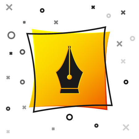 Black Fountain pen nib icon isolated on white background. Pen tool sign. Yellow square button. Vector Illustration