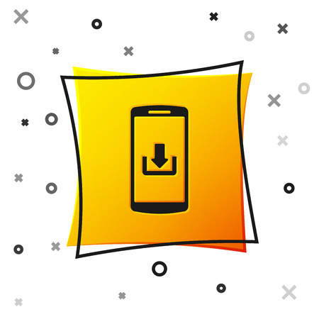 Black Smartphone with download icon isolated on white background. Yellow square button. Vector Illustration