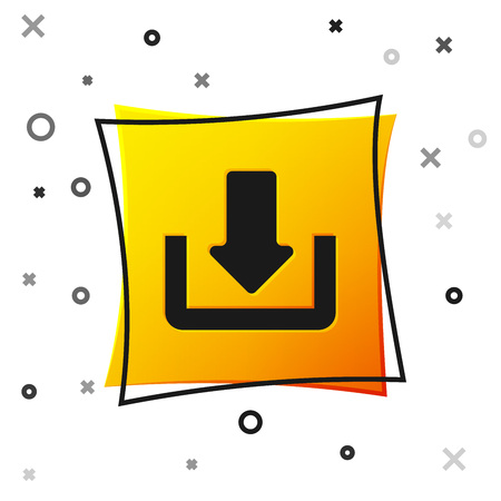 Black Download icon isolated on white background. Upload button. Load symbol. Arrow point to down. Yellow square button. Vector Illustration Reklamní fotografie - 123228277