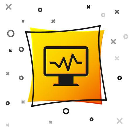 Black Computer monitor with cardiogram icon isolated on white background. Monitoring icon. ECG monitor with heart beat hand drawn. Yellow square button. Vector Illustration