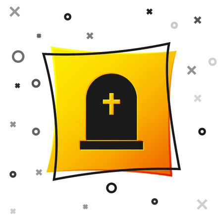 Black Tombstone with cross icon isolated on white background. Grave icon. Yellow square button. Vector Illustration 向量圖像