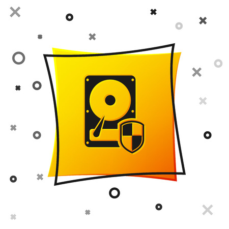 Black Hard disk drive HDD protection icon isolated on white background. Yellow square button. Vector Illustration
