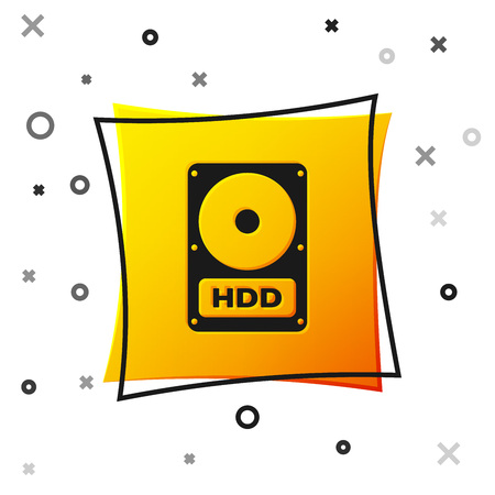 Black Hard disk drive HDD icon isolated on white background. Yellow square button. Vector Illustration