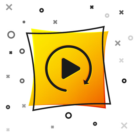 Black Video play button like simple replay icon isolated on white background. Yellow square button. Vector Illustration