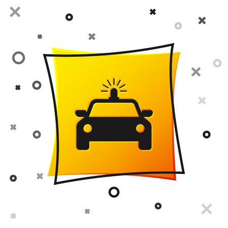 Black Police car and police flasher icon isolated on white background. Emergency flashing siren. Yellow square button. Vector Illustration Vecteurs