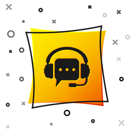 Black Headphones with speech bubble icon on white background. Support customer services, hotline, call center, guideline, faq, maintenance, assistance. Yellow square button. Vector Illustration