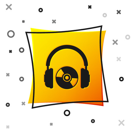 Black Headphones and CD or DVD icon isolated on white background. Earphone sign. Compact disk symbol. Yellow square button. Vector Illustration Illustration