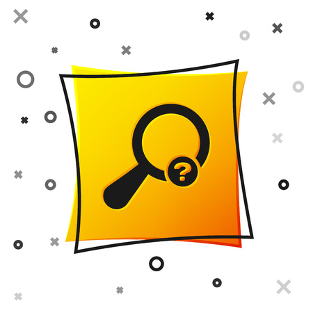 Black Unknown search icon isolated on white background. Magnifying glass and question mark. Yellow square button. Vector Illustration Ilustração