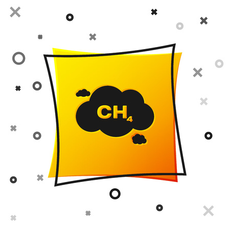 Black Methane emissions reduction icon isolated on white background. CH4 molecule model and chemical formula. Marsh gas. Natural gas. Yellow square button. Vector Illustration