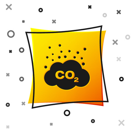 Black CO2 emissions in cloud icon isolated on white background. Carbon dioxide formula symbol, smog pollution concept, environment concept. Yellow square button. Vector Illustration