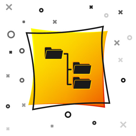 Black Folder tree icon isolated on white background. Computer network file folder organization structure flowchart. Yellow square button. Vector Illustration Stockfoto - 123136587